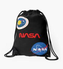 Three different official NASA logos Drawstring Bag