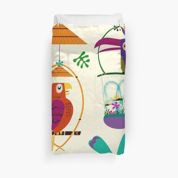 Vintage Modern Tiki Birds Duvet Cover
