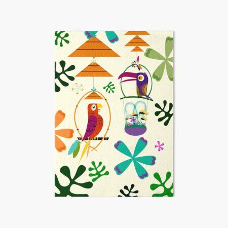 Vintage Modern Tiki Birds Art Board Print