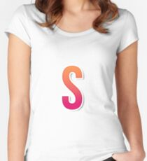 The Letter S Typography Sticker Women's Fitted Scoop T-Shirt