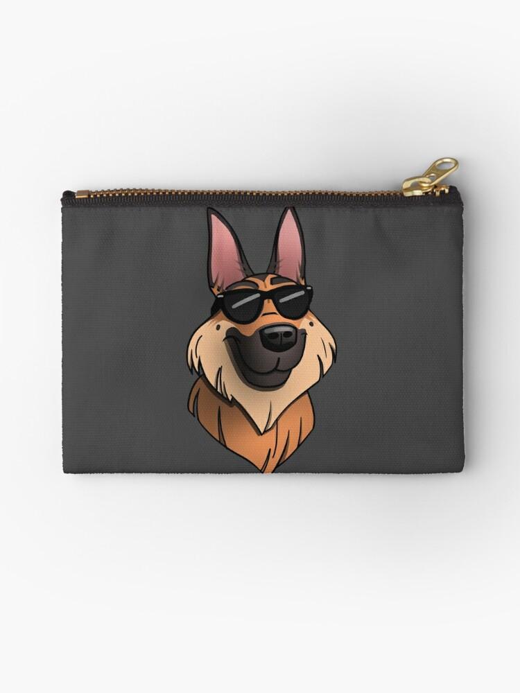 'Dog Days of Summer German Shepherd emoji' Zipper Pouch by polygrafix