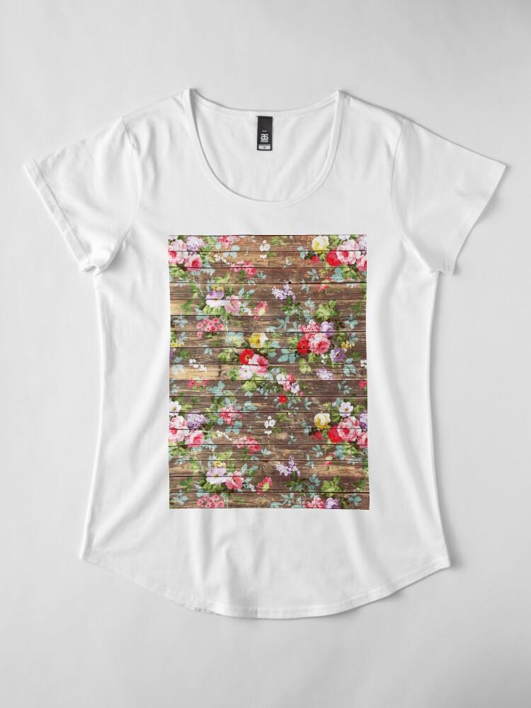 Alternative Ansicht von Blumen-rustikales braunes Holz der eleganten rosa Rosen Premium Rundhals-Shirt
