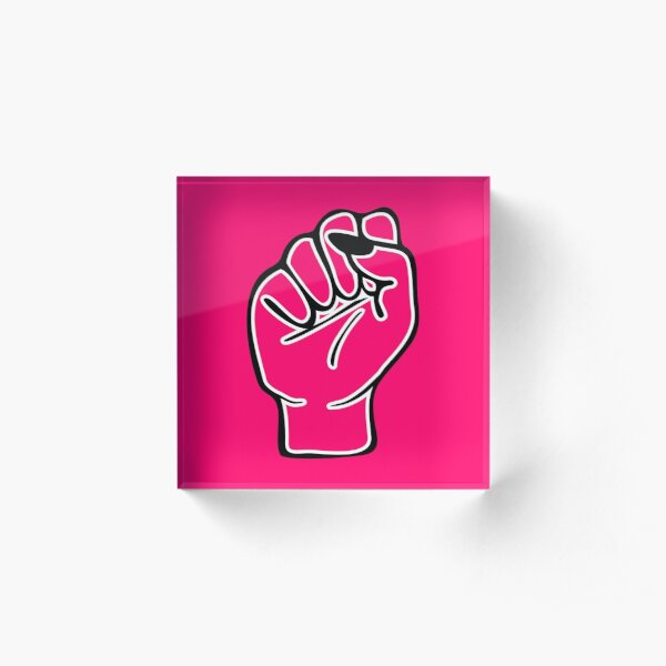 Red female fist Acrylic Block