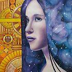 night maiden - art nouveau girl with galaxy hair von Schiraki