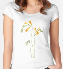 yellow freesia flower watercolor Women's Fitted Scoop T-Shirt