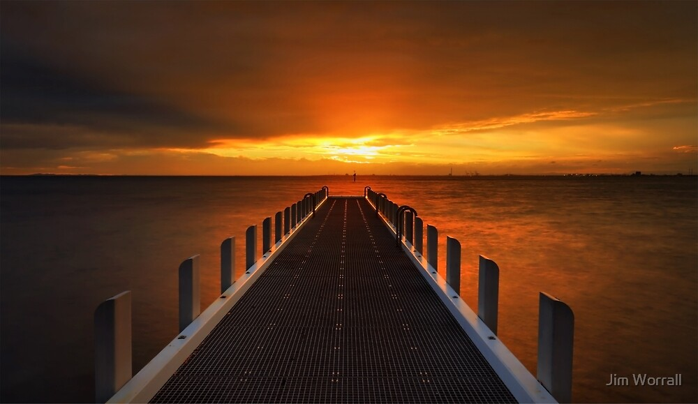 Sunset at North Road Jetty - Brighton by Jim Worrall