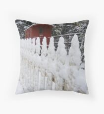 Along The Snowy Fence Throw Pillow