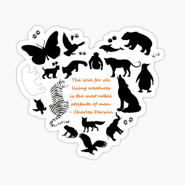Love of the Animals Typography Sticker