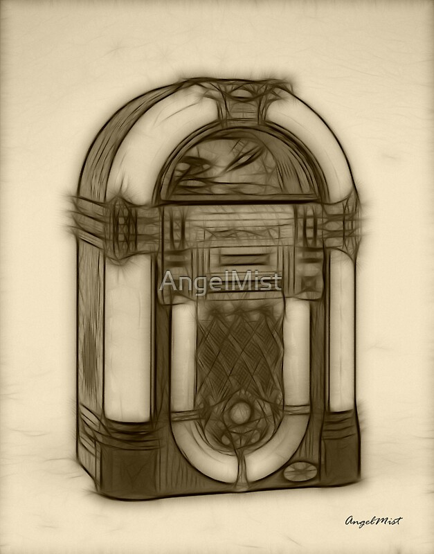 Line Art Jukebox : Jukebox drawing photographic prints redbubble