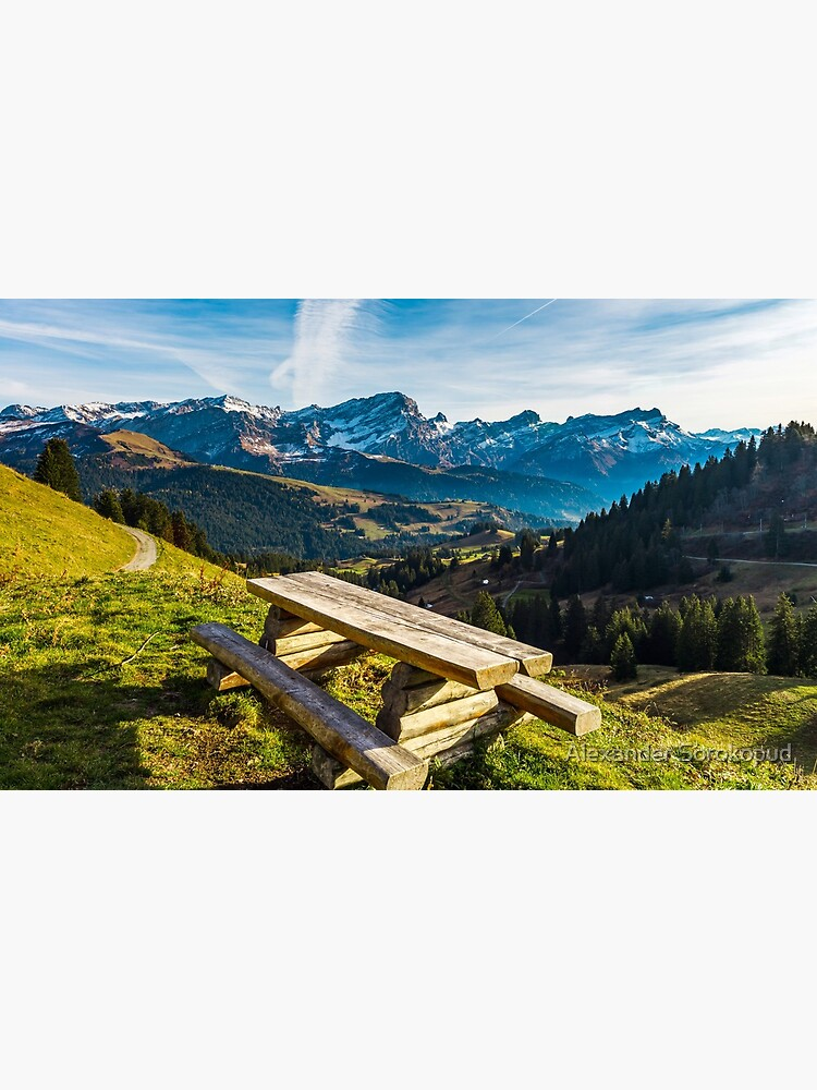 Natural wooden table with benches on the pederstrian path in Alps by sorokopud