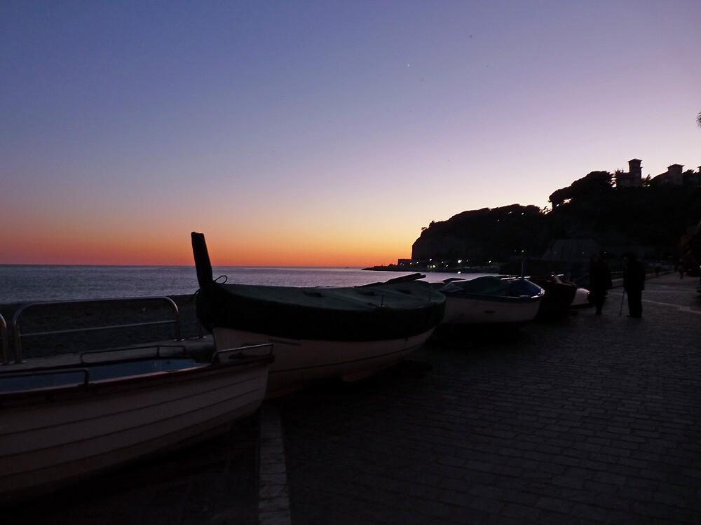 Boats at sunset by presbi