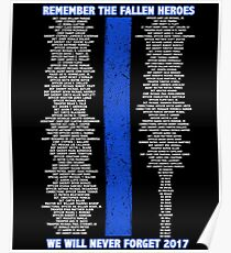 Fallen Police Officers 2017 Thin Blue Line Poster
