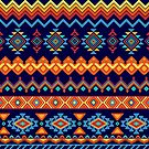 Colorful Tribal Ethnic Boho Abstract Shapes Pattern  by banginT