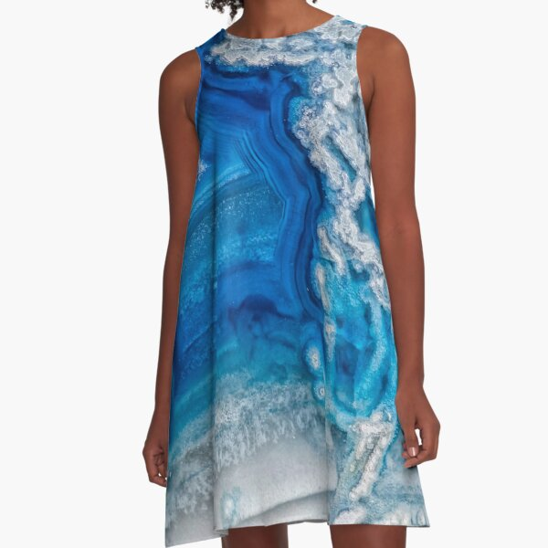 Blue and white agate crystal A-Line Dress