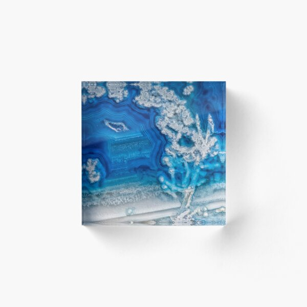Blue and white agate crystal Acrylic Block
