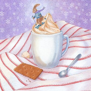 cute bunny skiing down a whipped cream latte mountain by EllenLambrichts
