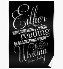 Benjamin Franklin Writing Quote Poster