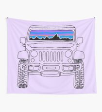Jeep Sunset with Mountains Wall Tapestry