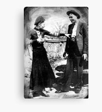Painting Of Bonnie And Clyde Mock Hold Up Black And White Mugshot Canvas Print