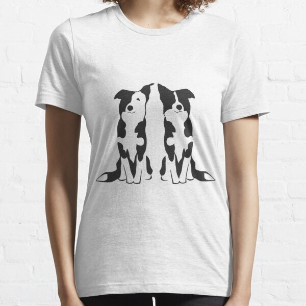Double Trouble | Border Collies | NickerStickers on Redbubble Essential T-Shirt