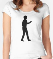 Cell Smartphone business man Women's Fitted Scoop T-Shirt