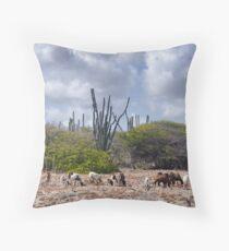 Goats on Bonaire Throw Pillow
