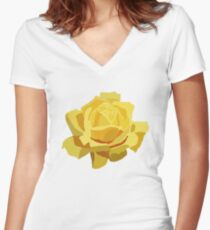 Yellow rose Women's Fitted V-Neck T-Shirt