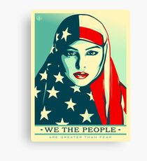 Women's March on Washington Vintage Sticker American Flag Hijab Canvas Print