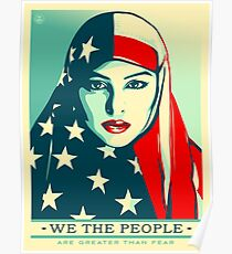 Women's March on Washington Vintage Sticker 2017 American Flag Hijab Poster