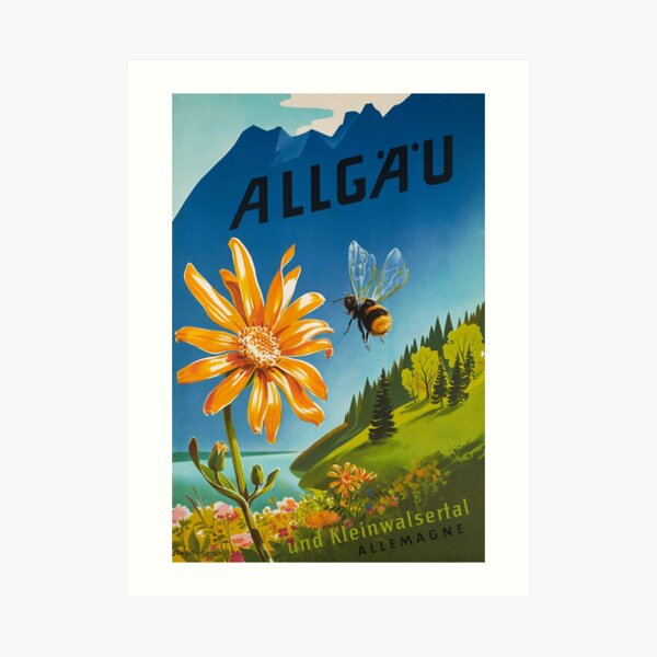 Allgau, Bavaria, Germany, Vintage Travel Poster Art Print