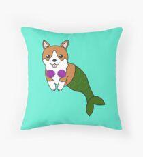 Corgi Dog Mermaid Merdog Throw Pillow