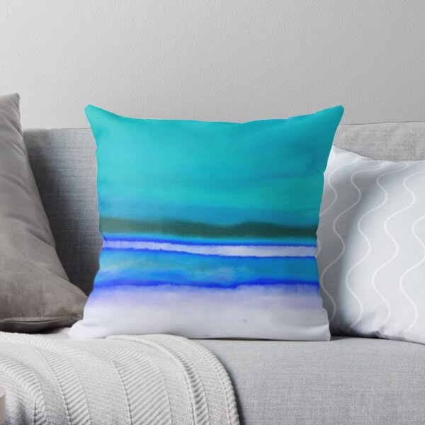 On Golden Creek - Summer Blue Throw Pillow