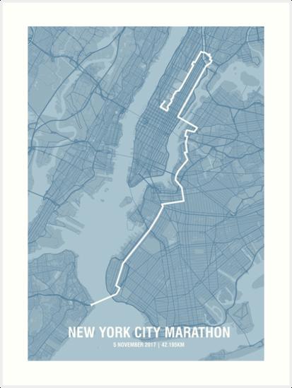 Map Of New York Marathon 2017.New York Marathon Map Steel Art Prints By Mishiink Redbubble