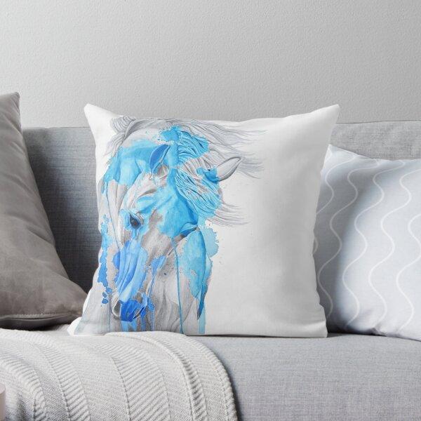 Étalon aquarelle bleu saphir Coussin