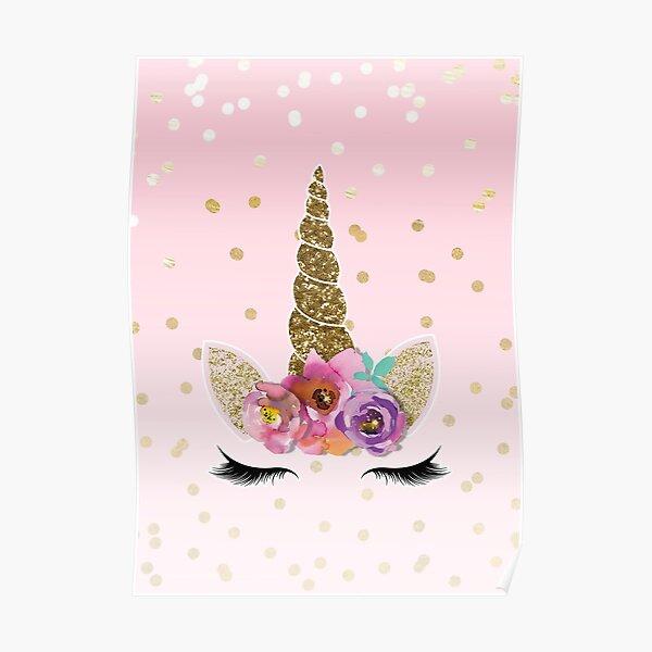 Floral Unicorn Horn & Gold Confetti Poster