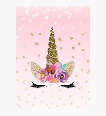 Floral Unicorn Horn & Gold Confetti Photographic Print