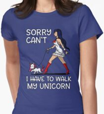 Sorry Can't I Have To Walk My Unicorn Funny Magical Women's Fitted T-Shirt
