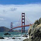 Golden Gate Bridge With Rocks by Lynda Anne Williams