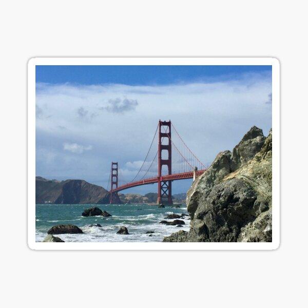 Golden Gate Bridge With Rocks Sticker