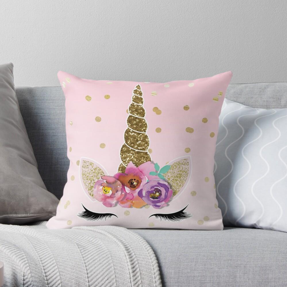 Confeti floral cuerno y oro unicornio Cojín