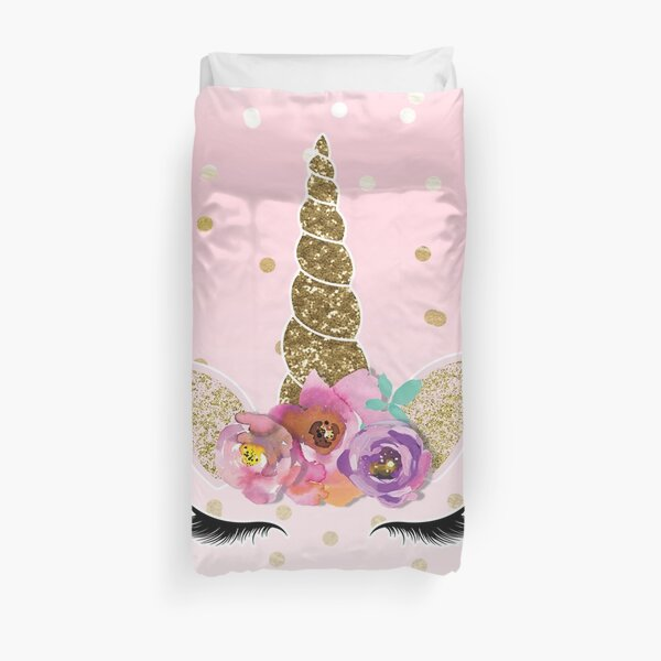 Floral Unicorn Horn & Gold Confetti Duvet Cover