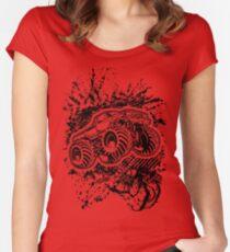 Monster Truck Jump Grunge Splatter Women's Fitted Scoop T-Shirt