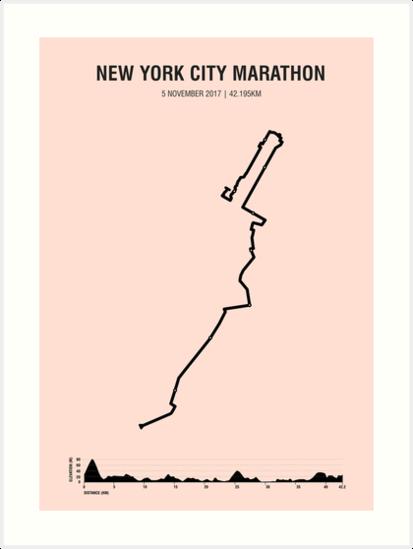 New York Minimalist Marathon Map (with elevation profile)\