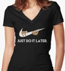 Mach es einfach später. Faultiere. Shirt mit V-Ausschnitt