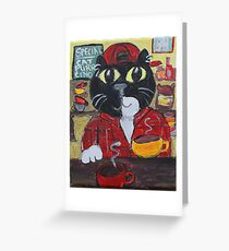 Folk Art Barista Cat Greeting Card