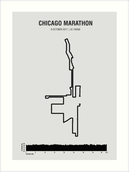 Chicago Minimalist Marathon Map With Elevation Profile Art Prints