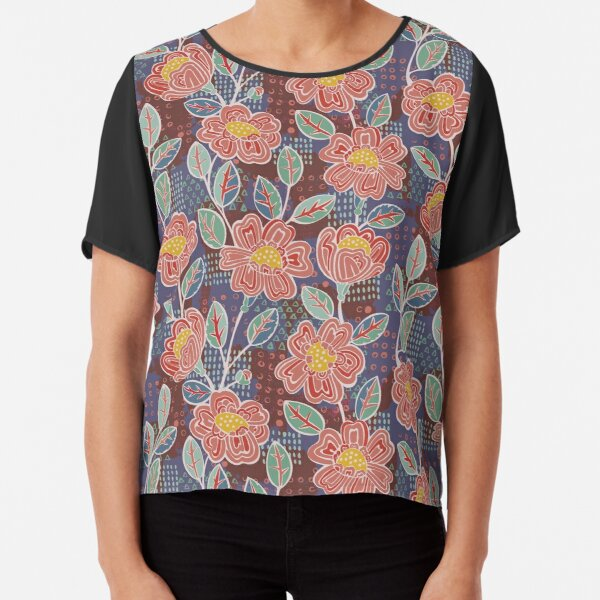Painterly Boho Roses by PaintMeBright Chiffon Top