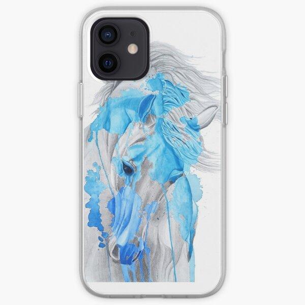 Étalon aquarelle bleu saphir Coque souple iPhone