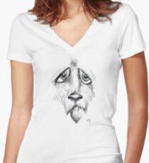 Sad Eyes Puppy Women's Fitted V-Neck T-Shirt