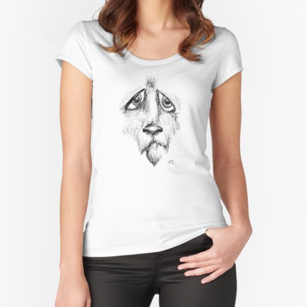 Sad Eyes Puppy Fitted Scoop T-Shirt